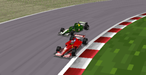 Bourdais and Vettel fight for the lead at the final corner.
