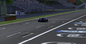 Solvy Odegard crosses the line in the Monza feature race.